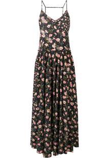 Zadig&Voltaire Vestido Longo Fashion Show Com Estampa Floral - Preto