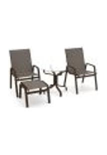 Conjunto 2 Cadeiras Mesa Riviera Alumínio Marrom Tela Fendi