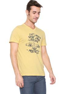 Camiseta Malwee Slim Estampada Amarela
