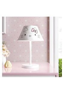 Abajur Infantil Hello Kitty Branco Bivolt Gráo De Gente Branco