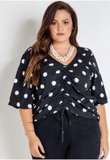 Blusa Plus Size Preta Com Poá E Franzido
