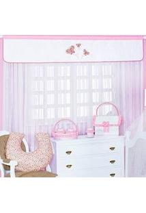 Cortina Para Quarto De Bebê Delicalle Rosa Com Borboletas Para Meninas
