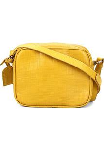 Bolsa Couro Shoestock Transversal Linho Feminina - Feminino-Amarelo