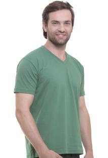 Camiseta Oitavo Ato Decote V Verde Militar
