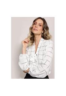 Blusa Feminina Estampado Geométrico Manga Curta Gola Laço Off White