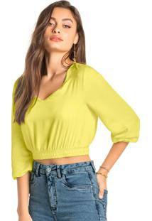 Blusa Amarela Cropped Acetinada