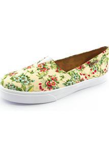 Tênis Slip On Quality Shoes 002 Feminino Floral Amarelo 202 27