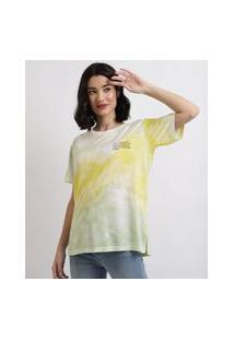 Blusa Feminina Estampada Tie Dye Manga Curta Decote Redondo Verde