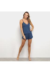 Pijama Lupo Feminino - Feminino-Azul