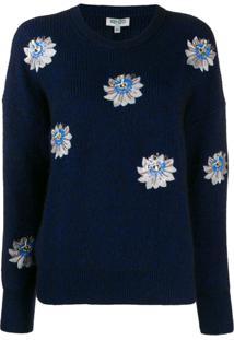 Kenzo Suéter Com Bordado Floral - Azul