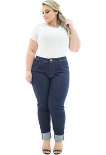 Calça Jeans Confidencial Extra Plus Size Cigarrete Com Lycra Feminina - Feminino-Azul Escuro