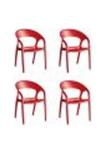 Kit 4 Cadeiras Glass Plus Polipropileno Kappesberg Vermelho