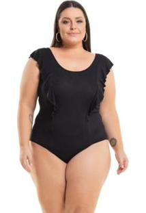 Body Miss Masy Plus Size Viscolycra Com Babado - Feminino-Preto