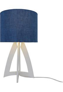 Abajur Base Madeira E Cãºpula Jeans Crie Casa Azul E Branco - Azul - Dafiti