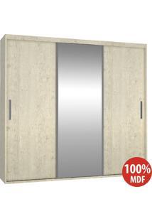 Guarda Roupa 3 Portas Com 1 Espelho 100% Mdf 1973E1 Marfim Areia - Foscarini