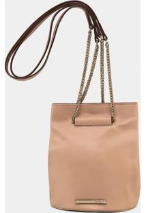 Bolsa Pequena Em Couro Metal Nude - Lez A Lez