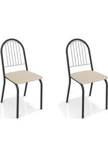 Conjunto Com 2 Cadeiras De Cozinha Noruega Preto E Nude