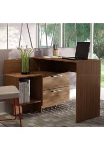 Mesa Em L Para Notebook/Escrivaninha 2 Gavetas Performa Castanho - Brv Móveis