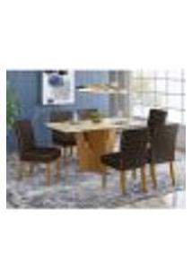 Mesa De Jantar Vértice 160Cm 6 Cadeiras Maris - Nature/Off White/Marrom