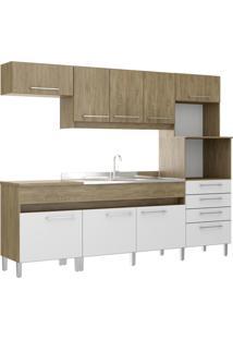 Cozinha Compacta 8 Portas 1 Gaveta Open Decibal Moveis Wood/Branco