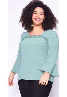 Blusa Almaria Plus Size Lasala Liso Verde Verde