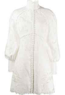 Zimmermann Super Eight Embroidered Dress - Branco