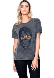 Camiseta Estonada Skull Elvis Useliverpool Feminina - Feminino-Preto