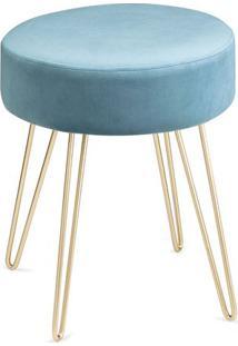 Puff Texturizado Com Base Metálica- Azul & Dourado- Mart