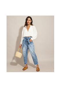 Calça Baggy Jeans Com Recortes Cintura Super Alta Destroyed Com Faixa Para Amarrar Sawary Azul Médio