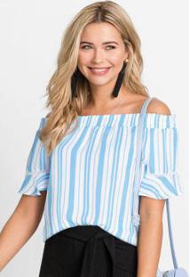 Blusa Ombro A Ombro Listrada Branca E Azul