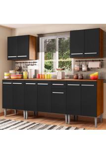 Cozinha Completa Madesa Emilly King Com Balcão E Armário - Rustic/Preto Marrom