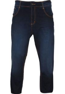 Calça Jeans Biotipo Reta Pespontos Azul-Marinho