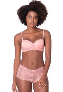 Conjunto Click Chique Sexy Caleçon Rendado Rosa - Tricae