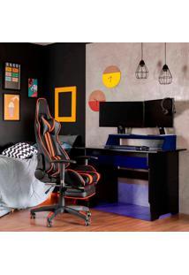 Mesa Gamer Com Led Vision Preta E Azul