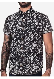 Camisa Floral Preta Marmorizada 200123