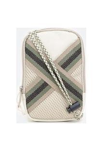 Bolsa Masculina Mini Bag Com Aplicação De Tiras Cruzadas   Viko   Branco   U