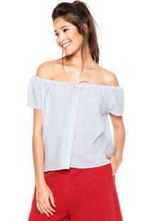 Blusa Fiveblu Laço Azul/Branca