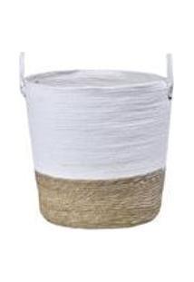 Cesto Em Seagrass Com Alca Em Couro 37X38Cm Enjoy Branco