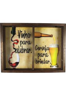 Quadro Porta Rolhas E Tampinhas Decoração Vinho Para Celebrar Cerveja Para Brindar