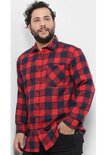 Camisa Xadrez Delkor Plus Size Masculina - Masculino-Vermelho