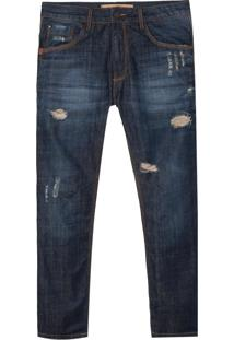 Calça John John Rock Angra 3D Jeans Azul Masculina (Jeans Escuro, 40)