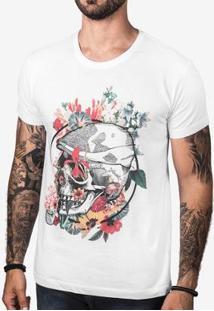 Camiseta Hermoso Compadre Flower Skull Masculina - Masculino-Branco