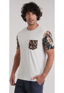 Camiseta Blueman Com Bolso Estampado De Borboletas Bege Claro