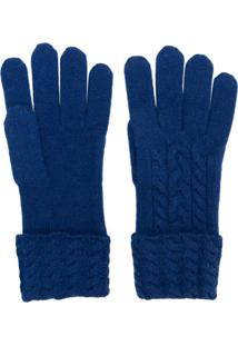 N.Peal Par De Luvas Em Cashmere - Azul