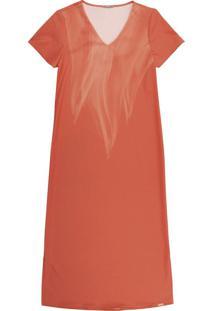 Vestido Midi Em Tecido Com Estampa Laranja