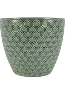 Kit Cachepot Verde Em Cerâmica 2 Peças
