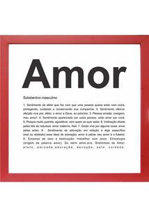 Quadro Amor 27X27-Kapos - Vermelho