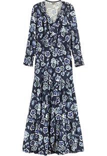 Vestido Azul Longo Floral Em Viscose