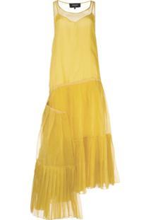 Rochas Vestido De Seda Com Barra Assimétrica E Detalhe De Pregas - Amarelo