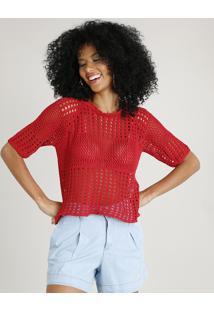 c722fba80 CEA. Blusa Feminina Ampla Em Tricô Manga Curta Decote Redondo Vermelha